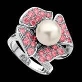 Bague de fiançailles perle blanche pavage saphir rose or blanc 18K Eternal Flower