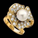 Bague de fiançailles perle blanche pavage diamant or jaune 18K Eternal Flower