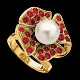 Bague de fiançailles perle blanche pavage rubis or jaune 18K Eternal Flower