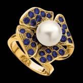 Bague de fiançailles perle blanche pavage saphir bleu or jaune 18K Eternal Flower