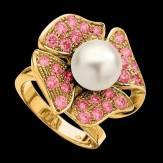 Bague de fiançailles perle blanche pavage saphir rose or jaune 18K Eternal Flower