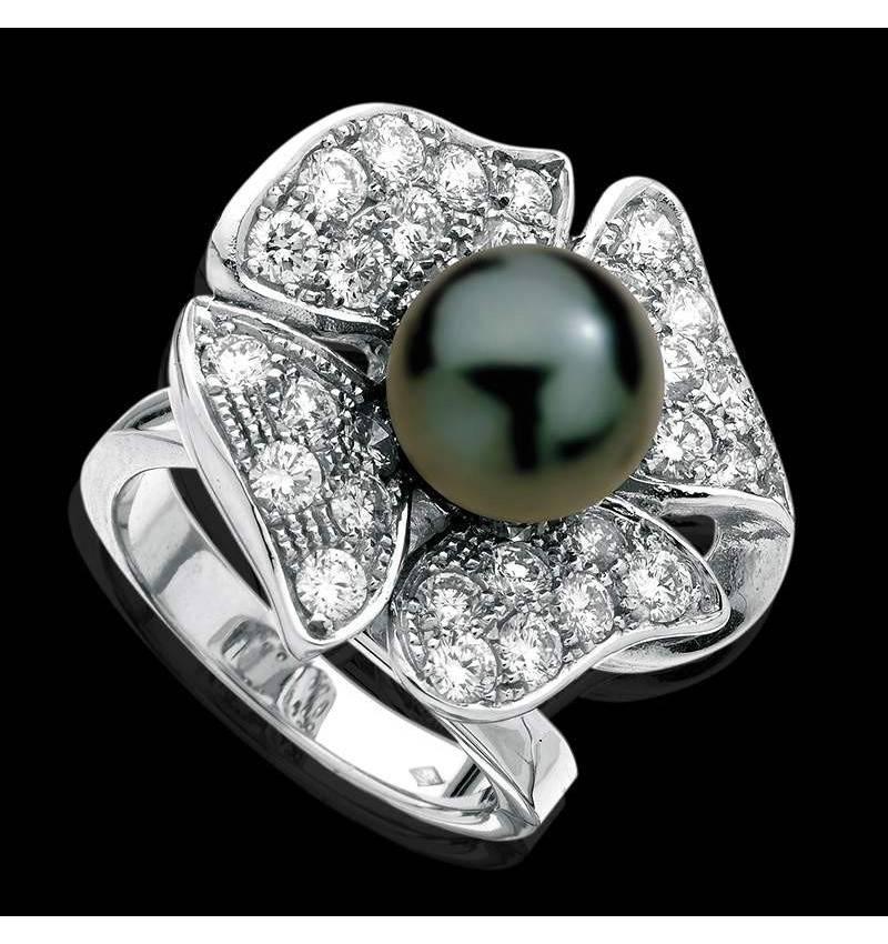 Bague de fiançailles perle Tahiti noire pavage diamant or blanc 18K Eternal Flower