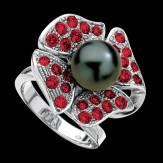 Bague de fiançailles perle Tahiti noire pavage rubis or blanc 18K Eternal Flower