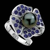 Bague de fiançailles perle Tahiti noire pavage saphir bleu or blanc 18K Eternal Flower