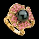 Bague de fiançailles perle Tahiti noire pavage saphir rose or jaune 18K Eternal Flower
