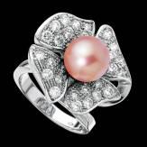 Bague de fiançailles perle rosée pavage diamant or blanc 18K Eternal Flower