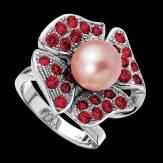 Bague de fiançailles perle rosée pavage rubis or blanc 18K Eternal Flower