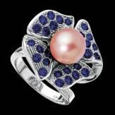 Bague de fiançailles perle rosée pavage saphir bleu or blanc 18K Eternal Flower