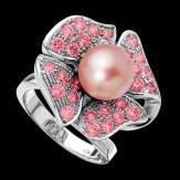 Bague de fiançailles perle rosée pavage saphir rose or blanc 18K Eternal Flower