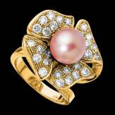 Bague de fiançailles perle rosée pavage diamant or jaune 18K Eternal Flower