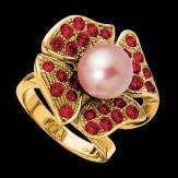 Bague de fiançailles perle rosée pavage rubis or jaune 18K Eternal Flower