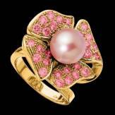 Bague de fiançailles perle rosée pavage saphir rose or jaune 18K Eternal Flower