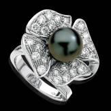 Bague de fiançailles perle Tahiti noire pavage diamant or blanc 18 K Eternal Flower