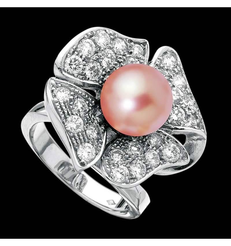 Bague de fiançailles perle rosée pavage diamant or blanc 18 K Eternal Flower