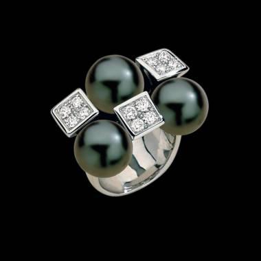 Bague de fiançailles perle Tahiti noire pavage diamant or blanc Archipel