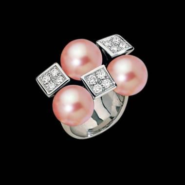 Bague de fiançailles perle rosée pavage diamant or blanc 18 K Archipel