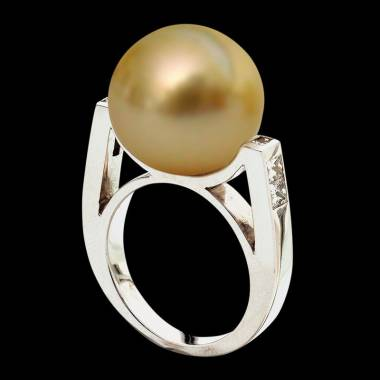 Bague de fiançailles perle gold pavage diamant or blanc Princesse Bora Bora