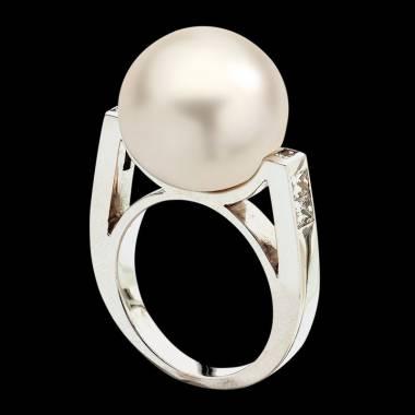 Bague de fiançailles perle blanche pavage diamant or blanc 18K Archipel