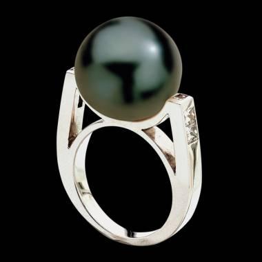Bague de fiançailles perle Tahiti noire pavage diamant or blanc 18 K Archipel