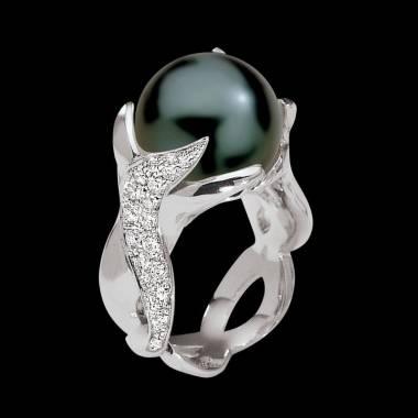 Bague de fiançailles perle noire pavage diamant or blanc Naïade