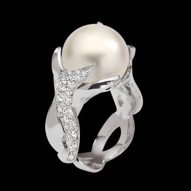 Bague de fiançailles perle blanche pavage diamant or blanc 18K Naïade
