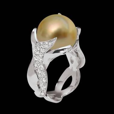 Bague de fiançailles perle gold pavage diamant or blanc 18K (16,40 g) Naïade