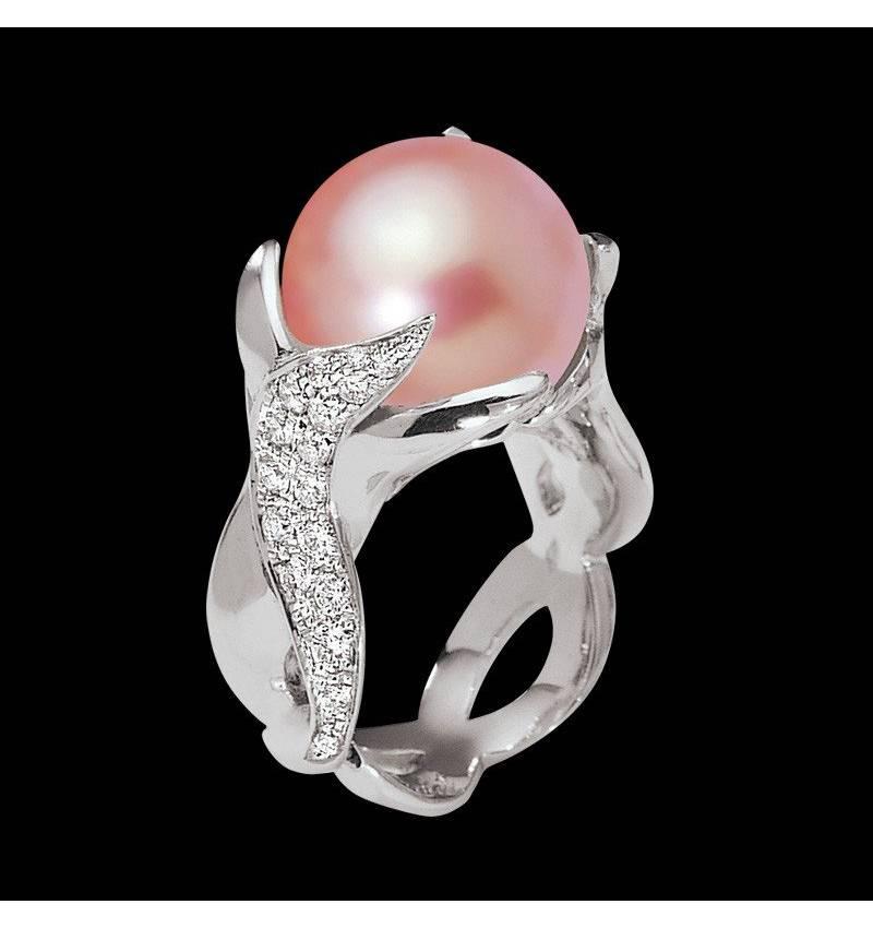 Bague de fiançailles perle rosée pavage diamant or blanc 18 K (16,40 g) Naïade