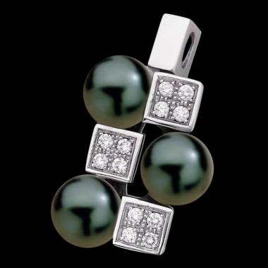 Pendentif perle noire Tahiti pavage diamant or blanc Archipel