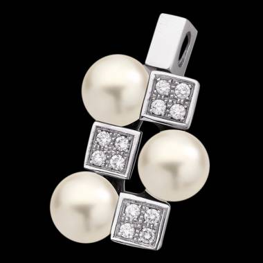 Pendentif perle blanche pavage diamant or blanc 18 K Archipel