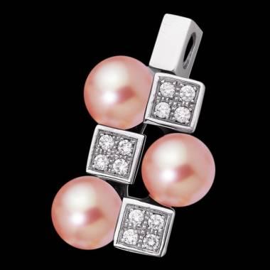 Pendentif perle rosée pavage diamant or blanc 18 K (8,90 g) Archipel