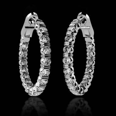 Boucles d'oreilles pavage diamant or blanc Créoles Inside