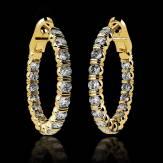 Boucles d'oreilles pavage diamant or jaune 18 K (10,8 g) Créoles Inside