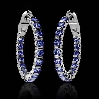 Boucles d'oreilles pavage saphir bleu or blanc 18 K (10,8 g) Créoles Inside