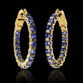 Boucles d'oreilles pavage saphir bleu or jaune 18 K (10,8 g) Créoles Inside