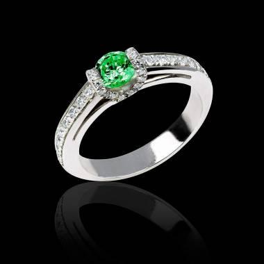 Bague de fiançailles émeraude pavage diamant or blanc Hera