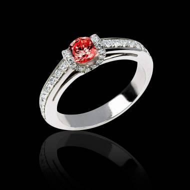 Bague de fiançailles rubis pavage diamant or blanc Hera