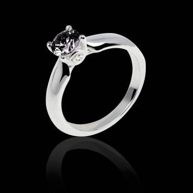 Bague de fiançailles diamant noir or blanc Motherhood