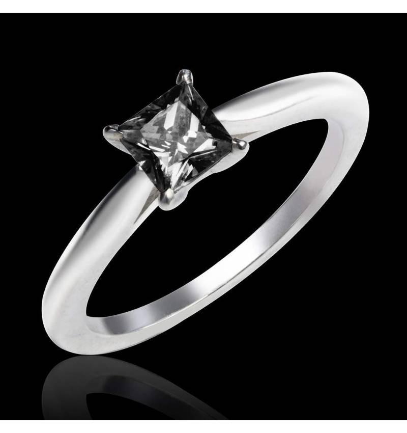 Bague de fiançailles diamant noir or blanc My Love