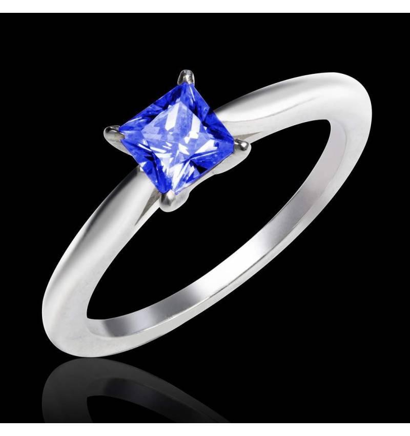 Solitaire saphir bleu or blanc My Love