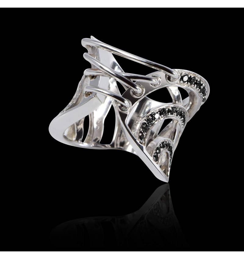 Bague de fiançailles diamant noir 0,6 carat or blanc Guêpière