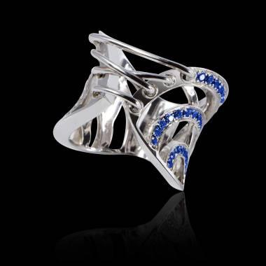 Bague de fiançailles saphir bleu 0,7 carat or blanc Guêpière
