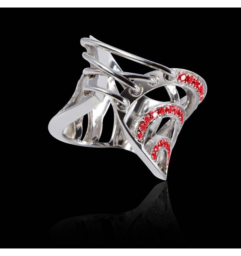 Bague de fiançailles rubis 1 carat or blanc Guêpière