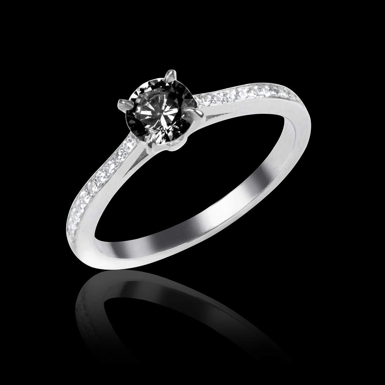 Bien-aimé Bague de fiançailles diamant noir Elodie - Maison Jaubalet NA32