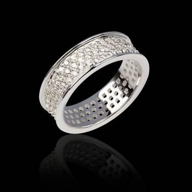 Alliance de mariage pavage diamant 0,7 carat platine Mars