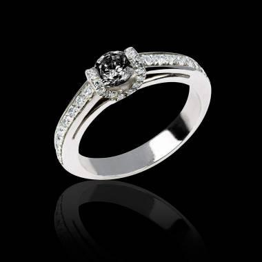 Bague de fiançailles diamant noir pavage diamant or blanc Hera