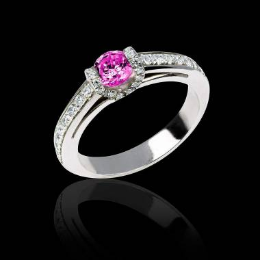Bague de fiançailles saphir rose pavage diamant or blanc Hera