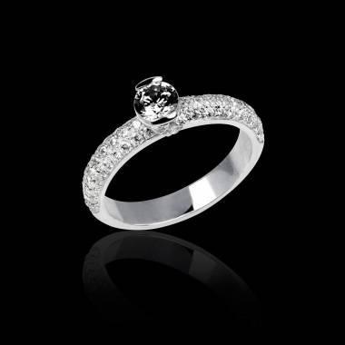 Bague de fiançailles diamant noir pavage diamant or blanc Orphée