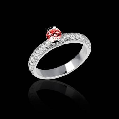 Bague de fiançailles rubis pavage diamant or blanc Orphée