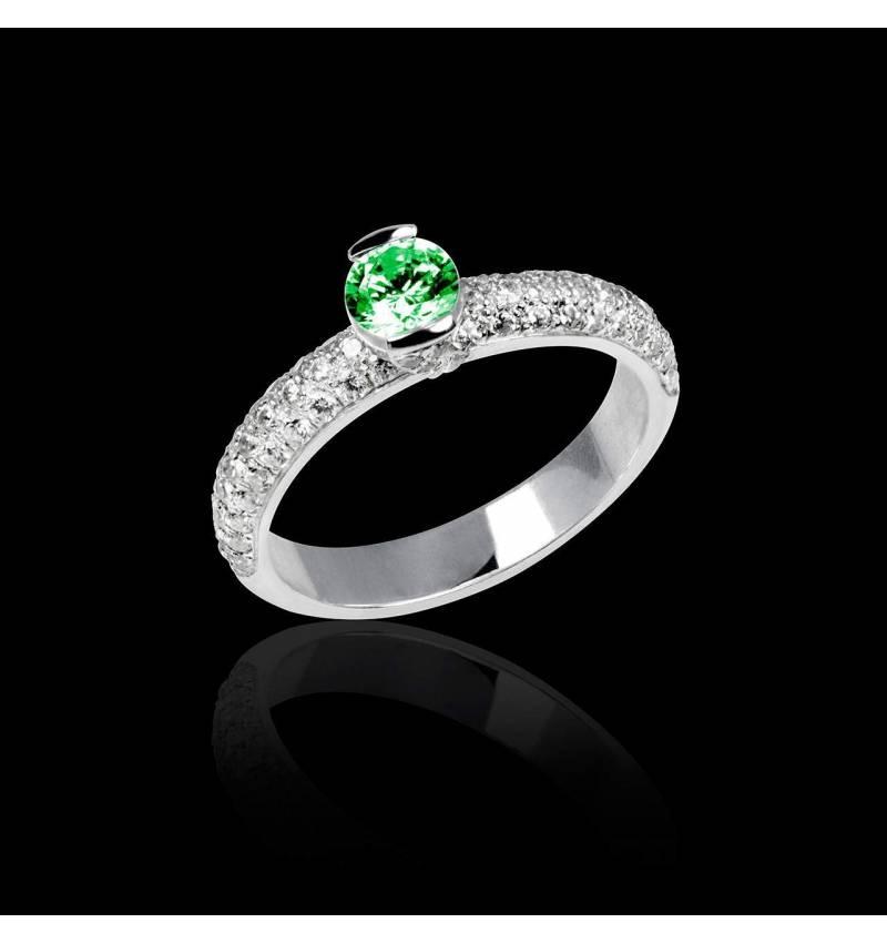 Bague de fiançailles émeraude pavage diamant or blanc Orphée