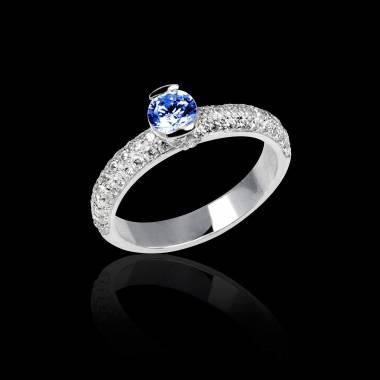 Bague de fiançailles saphir bleu pavage diamant or blanc Orphée